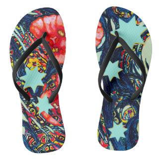 Chinelos Design colorido moderno das papoilas e das