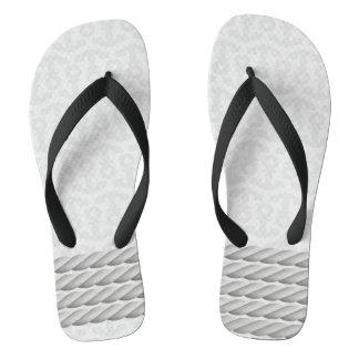 Chinelos Design náutico branco da âncora com corda