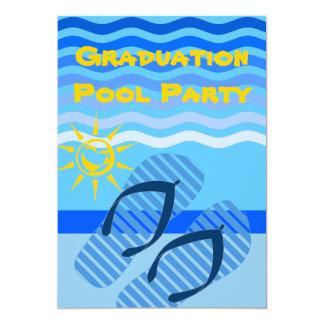 Chinelos do azul do verão da festa na piscina da convite 12.7 x 17.78cm