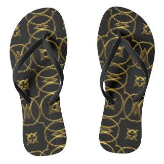 Chinelos elegantes do ouro geométrico do preto do