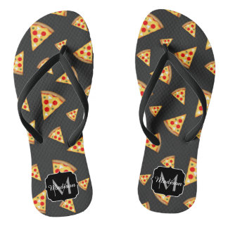 Chinelos Esfrie e a pizza do divertimento corta o monograma