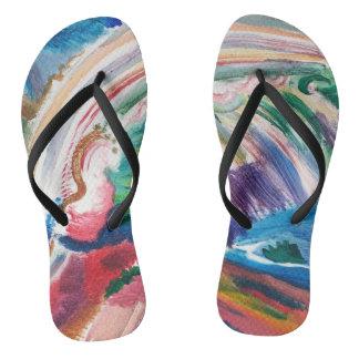 Chinelos flip-flops abstratos coloridos da pintura