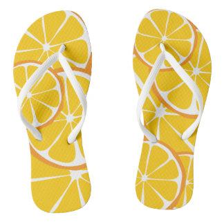Chinelos Flip-flops da laranja do citrino do verão