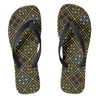 Chinelos Flip-flops Diamante-Modelados Preto-e-Ouro