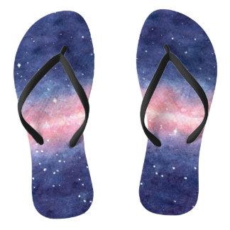 Chinelos Flip-flops do espaço da aguarela