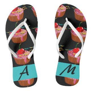 Chinelos Flip-flops dos cupcakes dos doces