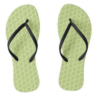 Chinelos Flip-flops - espirais pretas frisadas