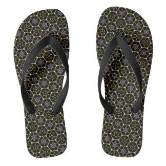 Chinelos Flip-flops Sextavado-Modelados Preto-e-Ouro