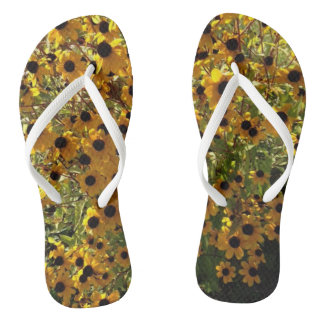 Chinelos Flip-flops verdes das flores amarelas de Susan de