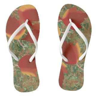 Chinelos Flip-flops vermelhos das folhas de outono do