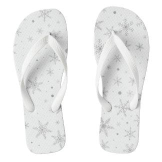 Chinelos Floco de neve da cintilação - cinza & Branco de
