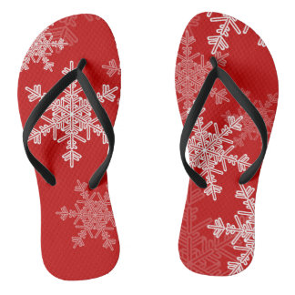 Chinelos Flocos de neve bonitos do vermelho e do White
