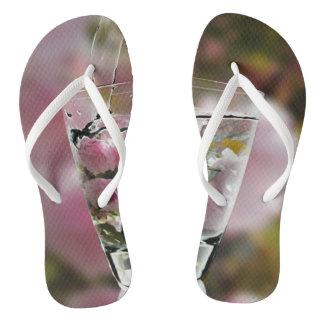 Chinelos Flores cor-de-rosa femininos legal da árvore de