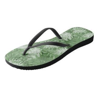 Chinelos Folhas tropicais do verde da aguarela