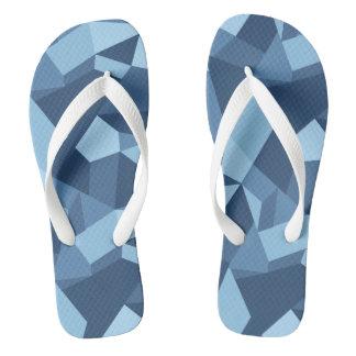 Chinelos Formas geométricas dos retalhos loucos azuis