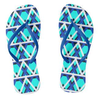 Chinelos geométricos azuis do Aqua brilhante