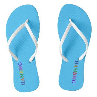 Chinelos HAMbyWG - flip-flops - logotipo de w dos azul-céu