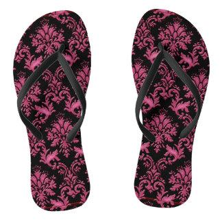 Chinelos Impressão cor-de-rosa e preto do damasco