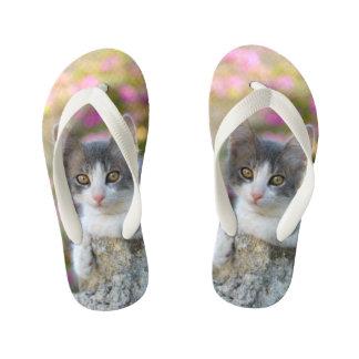 Chinelos Infantis Amantes macios do gato da foto do gatinho pequeno