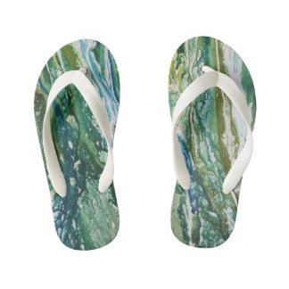 Chinelos Infantis Cachoeira azul verde abstrata colorida de turquesa
