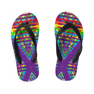 Chinelos Infantis Design abstrato das cores do arco-íris