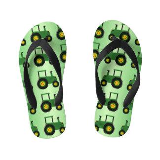 Chinelos Infantis Design verde do trator