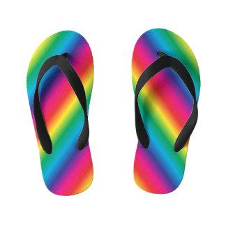 Chinelos Infantis Diagonal listrada do arco-íris