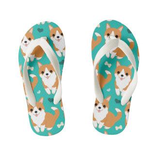 Chinelos Infantis Do cão bonito do Corgi de Kawaii teste padrão
