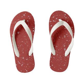 Chinelos Infantis Estrelas do brilho - vermelho de prata
