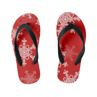 Chinelos Infantis Flocos de neve bonitos do vermelho e do White