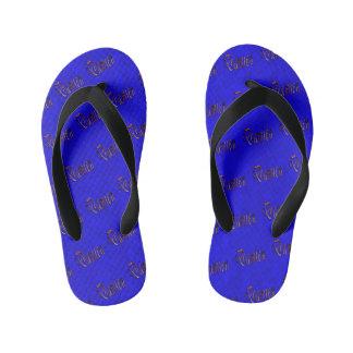 Chinelos Infantis Logotipo conhecido de Damien no mosaico azul