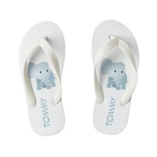 Chinelos Infantis O falso Monogrammed estofou o elefante azul
