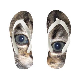 Chinelos Infantis Olho deixado e direito do gatinho Eyed azul,