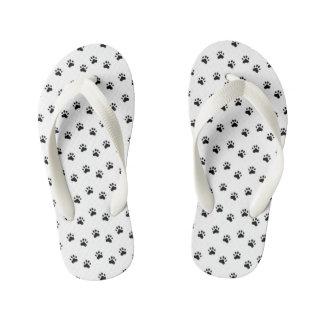 Chinelos Infantis Pawprints - preto e branco