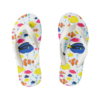 Chinelos Infantis Peixes e bolhas tropicais lunáticos bonitos