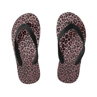 Chinelos Infantis Pele empoeirada do leopardo do rosa do rosa
