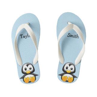 Chinelos Infantis Pinguim engraçado bonito feito sob encomenda dos