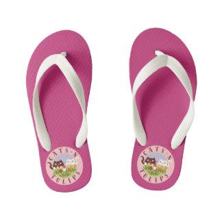 Chinelos Infantis Rosa engraçado bonito floral do primavera das