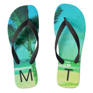 Chinelos Inicial azul/verde tropical da praia & da palmeira