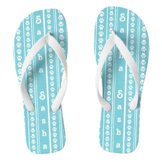 Chinelos Listra do impressão da pata e flip-flops do nome