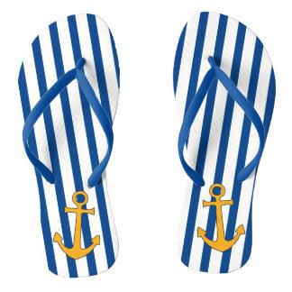Chinelos Listras da âncora e de azuis marinhos do ouro em