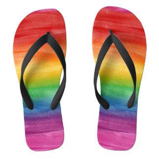 Chinelos Listras do arco-íris da aguarela