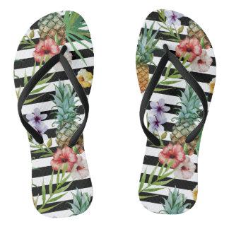 Chinelos Listras tropicais do preto da flor do abacaxi da