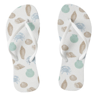 Chinelos litorais do teste padrão dos Seashells