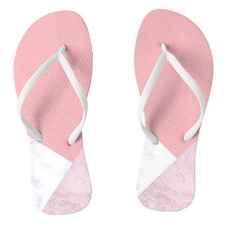 Chinelos mármore branco do rosa pastel do pintinho elegante
