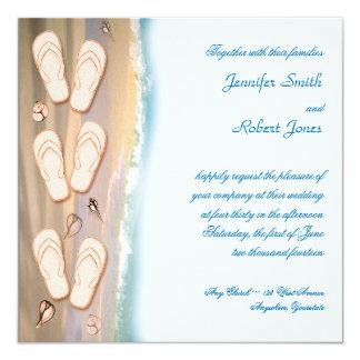Chinelos no convite do casamento de praia