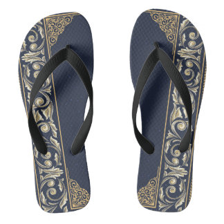 Chinelos nouveau da arte, azul marinho, ouro, antiguidade,