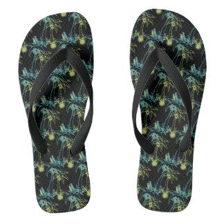 Chinelos Palmeira Sun da praia do paraíso & preto verde dos