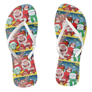 Chinelos Papai Noel e sua equipe estão prontos para o Natal