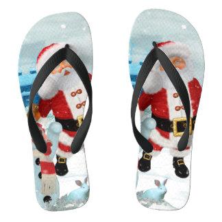 Chinelos Papai Noel engraçado com boneco de neve